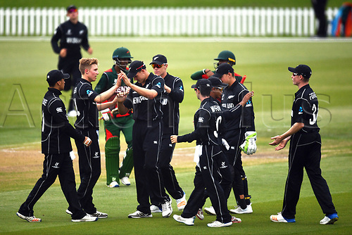 17th January 2018, Hagley Oval, Christchurch, New Zealand; Under 19 Cricket World Cup, New Zealand versus Kenya;  New Zealand's Luke Georgeson (scond Left) celebrates the wicket of Kenya's Aveet Desai with his team mates