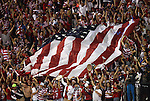 11 September 2012: U.S. fans celebrate the only goal by unfurling a large American flag. The United States Men's National Team defeated the Jamaica Men's National Team 1-0 at Columbus Crew Stadium in Columbus, Ohio in a CONCACAF Third Round World Cup Qualifying match for the FIFA 2014 Brazil World Cup.