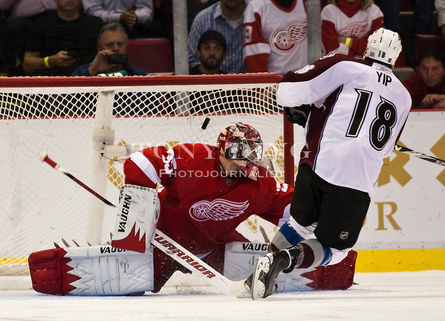 12 October 2010: Colorado Avalanche forward Brandon Yip (18) scores the game-winning shootout goal of the Colorado Avalanche at Detroit Red Wings NHL hockey game, at Joe Louis Arena, in Detroit, MI. Colorado won 5-4 in shootouts...***** Editorial Use Only *****