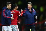 Louis Van Gaal, manager of Manchester United thanks Memphis Depay - Barclay's Premier League - Manchester United vs Watford - Old Trafford - Manchester - 02/03/2016 Pic Philip Oldham/SportImage