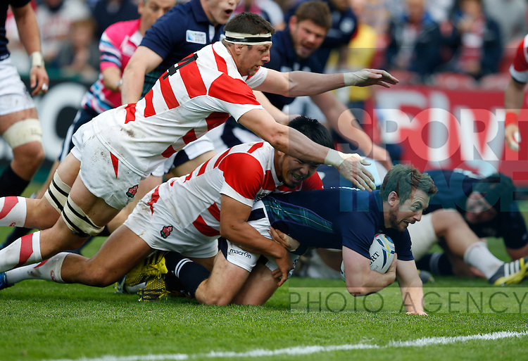 Greg Laidlaw of Scotland stopped just short of the try line - Rugby World Cup 2015 - Pool B - Scotland vs Japan - Kingsholm Stadium - Gloucester - England - 23rd September 2015 - Picture Simon Bellis/Sportimage
