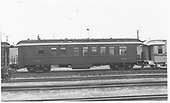 Business car B-7 at Alamosa, CO.  Originally baggage car #17 and then business car R.<br /> D&amp;RGW  Alamosa, CO  Taken by Maxwell, John W. - 5/30/1952
