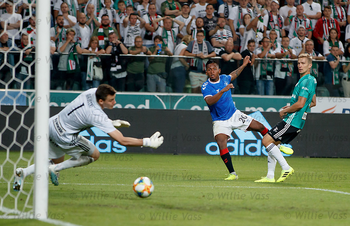 22.08.2019 Legia Warsaw v Rangers: Alfredo Morelos shoots but the offside flag is up