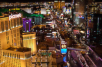 The Las Vegas skyline at night from the Eiffel Tower at the Paris Casino, on the Las Vegas Strip.