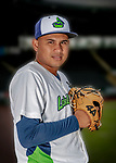 13 June 2018: Vermont Lake Monsters pitcher Jhenderson Hurtado poses for a portrait on Photo Day at Centennial Field in Burlington, Vermont. The Lake Monsters are the Single-A minor league affiliate of the Oakland Athletics, and play a short season in the NY Penn League Stedler Division. Mandatory Credit: Ed Wolfstein Photo *** RAW (NEF) Image File Available ***