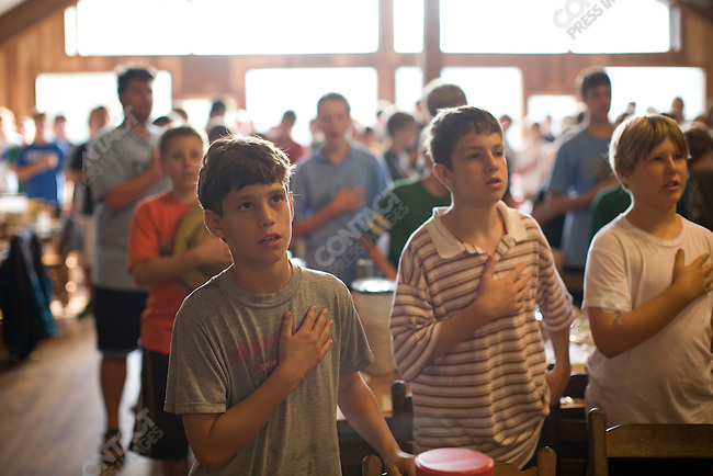 Campers in the dining hall at Falling Creek Boys Camp. Tuxedo, North Carolina, July 7, 2007