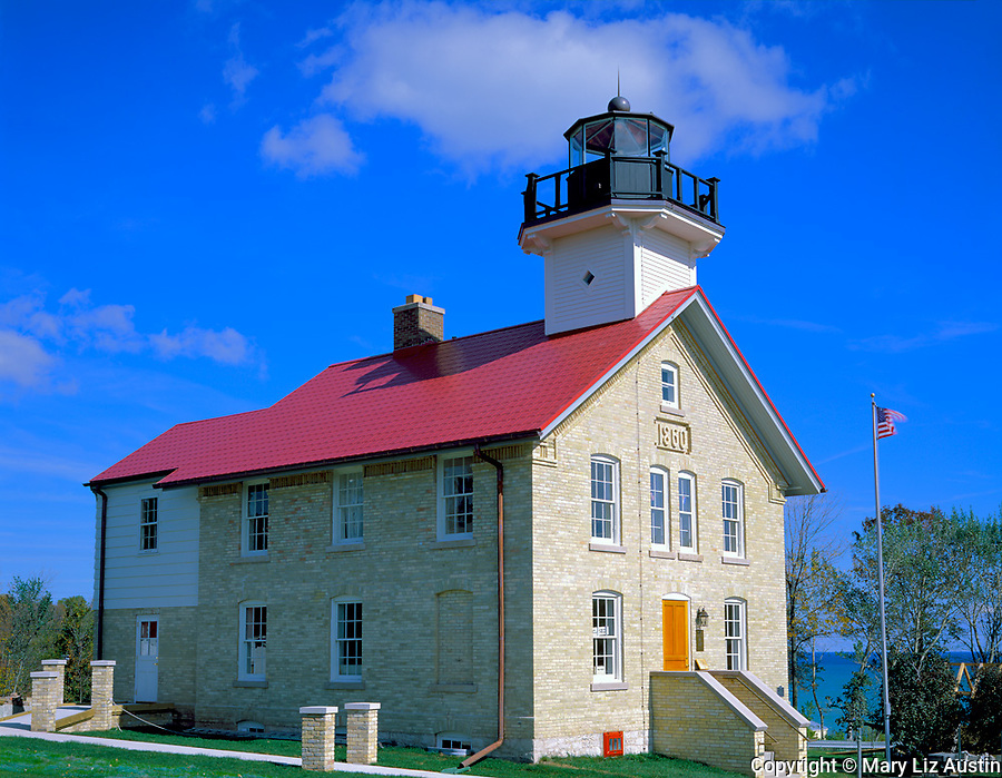 Ozaukee County, WI   <br /> Port Washington lighthouse (1849) on Lake Michigan, Port Washington, WI