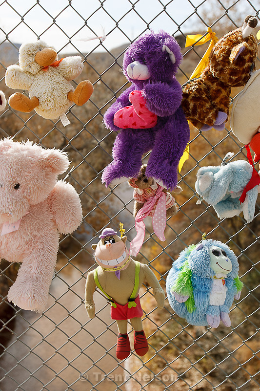 Stuffed animals on bridge Thursday November 29, 2012.