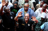 Jacob Zuma waves to African National Congress (ANC) supporters at the party's final Siyanqoba (victory) rally held at the Ellis Park Stadium in Johannesburg before the 2009 general election.
