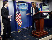 Actress Allison Janney, who played former press secretary C.J. Gregg on the show the West Wing, and currently staring in the CBS sitcom Mom, makes a surprise appearance during the Josh Earnest's daily Presidential briefing, in the Press Briefing of the White House on April 29, 2016. Allison Janney is here to highlight prevention against drug uses and abuse. <br /> Credit: Aude Guerrucci / Pool via CNP