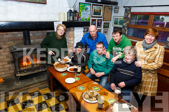 Beating the Beast from the East with a homemade stew served by Mary McCarthy in McCarthy's Bar on Friday last.<br /> Seated l-r, Lindsey Edwards, Pat McCarthy, Dan Lyons, Standing l to r: DJ Kelly, Mike Sullivan and Nuala Horgan.