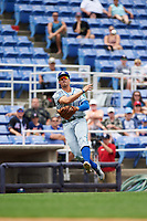 Hartford Yard Goats third baseman Josh Fuentes (13) throws to first base for the out in the bottom of the second inning during a game against the Binghamton Rumble Ponies on July 9, 2017 at NYSEG Stadium in Binghamton, New York.  Hartford defeated Binghamton 7-3.  (Mike Janes/Four Seam Images)