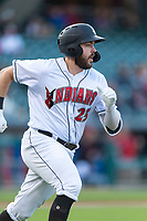 Indianapolis Indians first baseman Will Craig (25) hustles down the first base line during an International League game against the Columbus Clippers on April 29, 2019 at Victory Field in Indianapolis, Indiana. Indianapolis defeated Columbus 5-3. (Zachary Lucy/Four Seam Images)