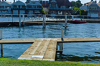 """Henley on Thames, United Kingdom, 29th June 2018, Friday, """"Henley Royal Regatta"""", Qualifying races, [Time Trails] """"Wet Paint signs"""" on the """"Umpire Launches Jetty"""", Henley Reach, River Thames, Thames Valley, England, © Peter SPURRIER, 29/06/2018"""