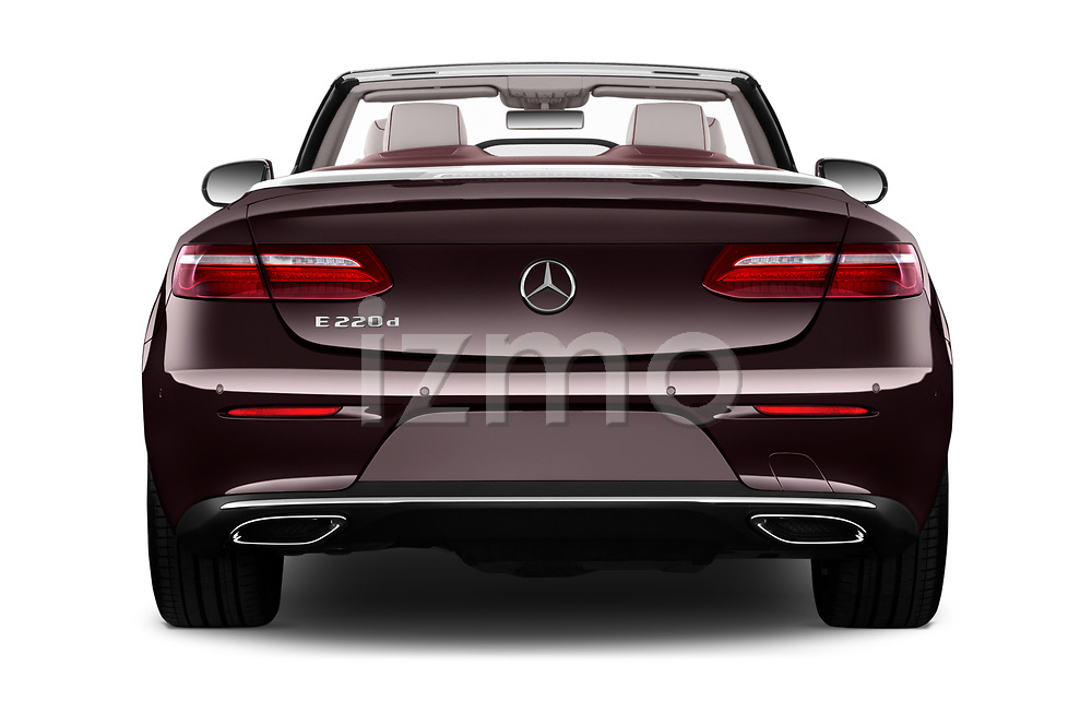 Straight rear view of a 2018 Mercedes Benz E Class 25th Anniversary 2 Door Convertible stock images