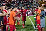 Chan Wai Ho of Hong Kong (C) high five with his teammates after played the last match for Hong Kong during the International Friendly match between Hong Kong and Jordan at Mongkok Stadium on June 7, 2017 in Hong Kong, China. Photo by Cris Wong / Power Sport Images