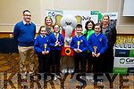 Scoil Mhuire, Kilmurry NS students, Caitlin Griffin, Robyn Smith, Micheal Lenihan with their principal Therese Kearney who took 3rd place in the U11 Quiz  at the Cara Credit Union Quiz in the Brandon Hotel on Sunday. <br /> Students l to r:  Pa Laide (Manager Cara Credit Union), Caroline Sugrue and Siobhan Donnelly (Cara Credit Union).