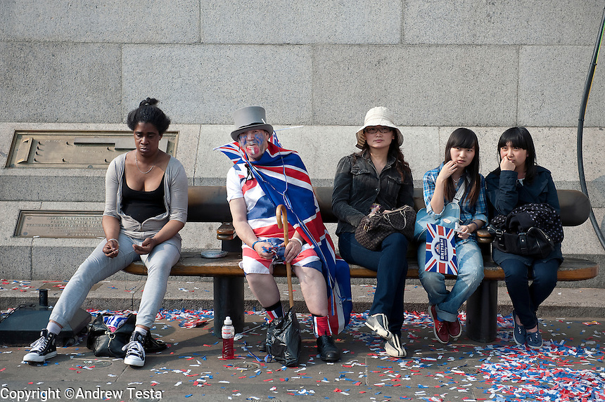 UK. London. 29th April 2011..Revellers  at Trafalgar Square during Royal Wedding celebrations..©Andrew Testa for the New York Times..