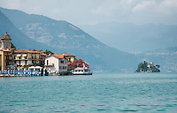 Looking towards Isola di Loreto past Marzano on Monte Isola on Lake Iseo, Lombardy, Italy.