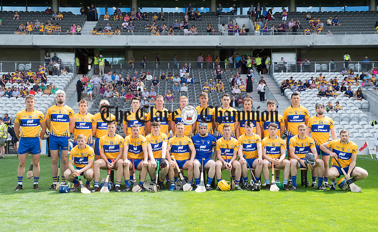 The Clare team before their All-Ireland quarter final against Wexford at Pairc Ui Chaoimh. Photograph by John Kelly.