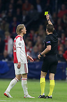 Kasper Dolberg of Ajax is booked during AFC Ajax vs Tottenham Hotspur, UEFA Champions League Football at the Johan Cruyff Arena on 8th May 2019
