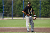 03 September 2011: Vince Rooi of L&D Amsterdam Pirates is seen during game 1 of the 2011 Holland Series won 5-4 in inning number 14 by L&D Amsterdam Pirates over Vaessen Pioniers, in Hoofddorp, Netherlands.
