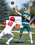 SPEARFISH, SD - SEPTEMBER 17: Black Hills State quarterback Ryan Hommel #7 throws over Dixie State defender Tane Tuifua #48 during their college football game Saturday September 17, 2016 at Lyle Hare Stadium in Spearfish, S.D. (Photo by Dick Carlson/Inertia)
