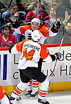 7 December 2009: Philadelphia Flyers' center Danny Briere celebrates scoring the first goal of the game, unassisted against the Montreal Canadiens at the Bell Centre in Montreal, Quebec, Canada. The Canadiens defeated the Flyers 3-1. Mandatory Credit: Ed Wolfstein Photo