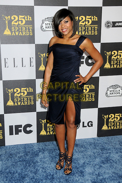 TARAJI P. HENSON.25th Annual Film Independent Spirit Awards - Arrivals held at the Nokia Event Deck at L.A. Live, Los Angeles, California, USA..March 5th, 2010.full length hand on hip black dress sandals slit thigh split .CAP/ADM/BP.©Byron Purvis/AdMedia/Capital Pictures.