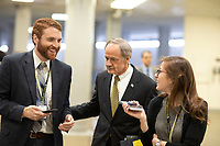 United States Senator Tom Carper, Democrat of Delaware, talks with reporters in the Senate Subway during a Senate vote on Capitol Hill in Washington, DC on July 7, 2018. <br /> CAP/MPI/RS<br /> &copy;RS/MPI/Capital Pictures