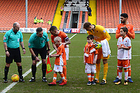 The Blackpool match day mascots line up with the players and officials prior to the match<br /> <br /> Photographer Richard Martin-Roberts/CameraSport<br /> <br /> The EFL Sky Bet League One - Blackpool v Walsall - Saturday 10th February 2018 - Bloomfield Road - Blackpool<br /> <br /> World Copyright &not;&copy; 2018 CameraSport. All rights reserved. 43 Linden Ave. Countesthorpe. Leicester. England. LE8 5PG - Tel: +44 (0) 116 277 4147 - admin@camerasport.com - www.camerasport.com