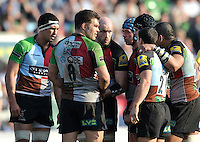 London, England.  Karl Dickson of Harlequins talks to the team during the Aviva Premiership match between Harlequins and Bath Rugby at Twickenham Stoop on March 24, 2012 in Twickenham, England.