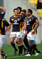 Wellington's Hosea Gear and Neemia Tialata after Ahsee Tuala's intercept try. ITM Cup - Wellington Lions v Counties-Manukau Steelers at Westpac Stadium, Wellington, New Zealand on Sunday, 8 August 2010. Photo: Dave Lintott/lintottphoto.co.nz.