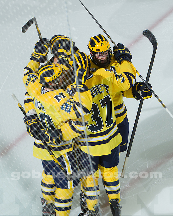 The University of Michigan ice hockey team beat Ferris State, 4-0, at Yost Ice Arena on October 28, 2011 in Ann Arbor, Mich.