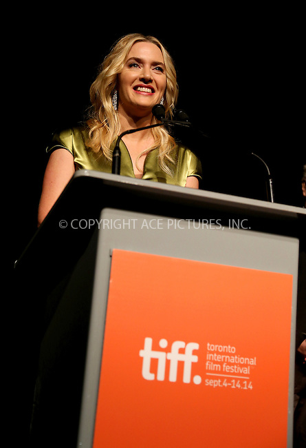 WWW.ACEPIXS.COM<br /> <br /> US SALES ONLY<br /> <br /> September 13, 2014, Toronto, Canada<br /> <br /> Kate Winslet arriving at the premiere of 'A Little Chaos' during the 2014 Toronto International Film Festival at Roy Thomson Hall on September 13, 2014 in Toronto, Canada.<br /> <br /> By Line: Famous/ACE Pictures<br /> <br /> ACE Pictures, Inc<br /> Tel: 646 769 0430<br /> Email: info@acepixs.com