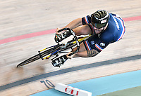 CALI – COLOMBIA – 19-02-2017: Charlie Conord de Francia en la prueba de 200 metros Velocidad hombres en el Velodromo Alcides Nieto Patiño, sede de la III Valida de la Copa Mundo UCI de Pista de Cali 2017. / Charlie Conord from France in the 200 meters Men´s Sprint Race at the Alcides Nieto Patiño Velodrome, home of the III Valid of the World Cup UCI de Cali Track 2017. Photo: VizzorImage / Luis Ramirez / Staff.