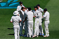 The Black Caps celebrate the wicket of Joe Root by Trent Boult, New Zealand Black Caps v England. Day 1 of the day-night, pink ball cricket test match at Eden Park in Auckland. 22 March 2018. Copyright Image: William Booth / www.photosport.nz