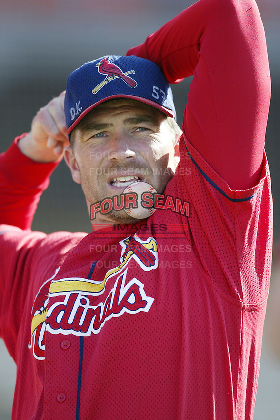 Dave Veres of the St. Louis Cardinals before a 2002 MLB season game against the Los Angeles Dodgers at Dodger Stadium, in Los Angeles, California. (Larry Goren/Four Seam Images)