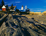 Lincoln County, ME:  Pemaquid Point Lighthouse (1835) above the wave worn granite rock forms of Pemaquid Point