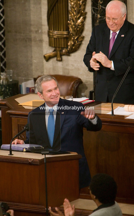23 January 2007 - Washington, DC - US President George W. Bush delivers his State of the Union speech to the assembled senators and members of Congress in Washington, DC, USA, 23 January 2007.