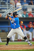 Hudson Valley Renegades designated hitter Joe Olson (31) at bat during a game against the Batavia Muckdogs on August 2, 2016 at Dwyer Stadium in Batavia, New York.  Batavia defeated Hudson Valley 2-1.  (Mike Janes/Four Seam Images)