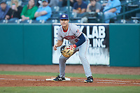 Hagerstown Suns first baseman KJ Harrison (8) on defense against the Greensboro Grasshoppers at First National Bank Field on April 6, 2019 in Greensboro, North Carolina. The Suns defeated the Grasshoppers 6-5. (Brian Westerholt/Four Seam Images)