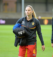20140507 - LEUVEN , BELGIUM : Belgian Jana Coryn pictured during the female soccer match between Belgium and The Netherlands, on the eighth matchday in group 5 of the UEFA qualifying round to the FIFA Women World Cup in Canada 2015 at Stadion Den Dreef , Leuven . Wednesday 7th May 2014 .  PHOTO DAVID CATRY