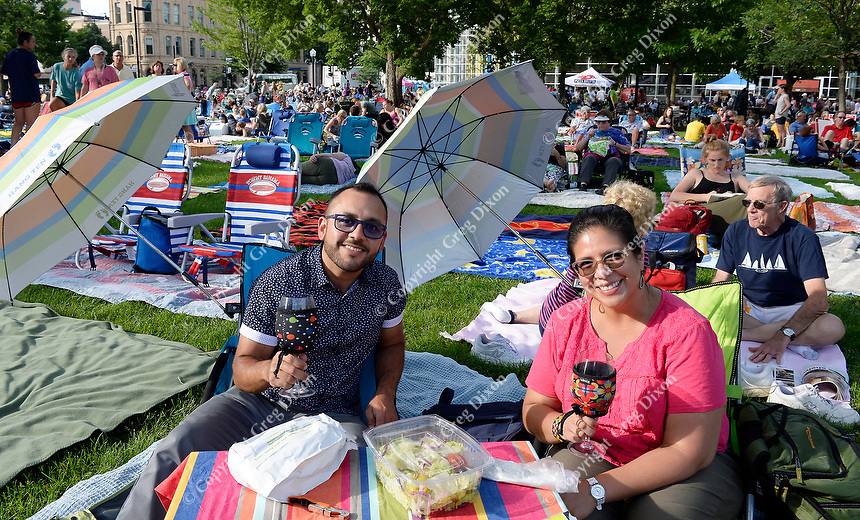 Hector and Jessica Gomez enjoy dinner and drinks before Concerts on the Square on Wednesday