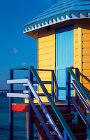 Colorful Compass Point beach resort cabin. Nassau, Bahamas.
