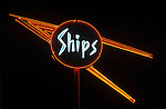 Ships Coffee Shop neon sign outside restaurant in Los Angeles, CA