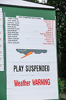 Play was suspended for a short time during the 2nd round at the The Masters , Augusta National, Augusta, Georgia, USA. 12/04/2019.<br /> Picture Fran Caffrey / Golffile.ie<br /> <br /> All photo usage must carry mandatory copyright credit (© Golffile | Fran Caffrey)
