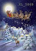 Interlitho, Simonetta, CHRISTMAS SANTA, SNOWMAN, paintings, sleigh in sky, deer, KL5869,#X# Weihnachtsmänner, Papá Noel, Weihnachten, Navidad, illustrations, pinturas klassisch, clásico