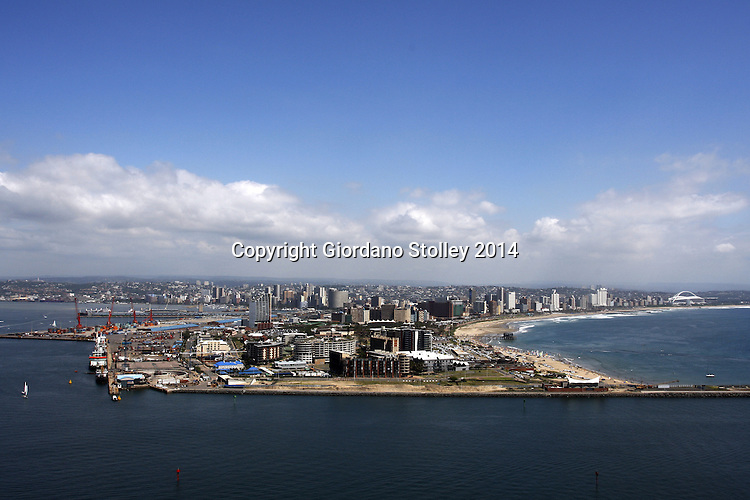DURBAN - 9 February 2014 - The Durban skyline as seen from the Millenium Tower on the Bluff. In the foreground the recently widened channel to Durban's port entrance can be seen. The buildings in the immediate foreground are those of the city's Point Waterfront Development with the city's famous beaches winding off to the right. Picture: Allied Picture Press/APP