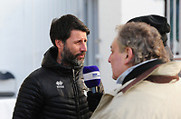Lincoln City manager Danny Cowley speaks to the press during the pre-match warm-up<br /> <br /> Photographer Andrew Vaughan/CameraSport<br /> <br /> The EFL Sky Bet League Two - Lincoln City v Newport County - Saturday 22nd December 201 - Sincil Bank - Lincoln<br /> <br /> World Copyright © 2018 CameraSport. All rights reserved. 43 Linden Ave. Countesthorpe. Leicester. England. LE8 5PG - Tel: +44 (0) 116 277 4147 - admin@camerasport.com - www.camerasport.com
